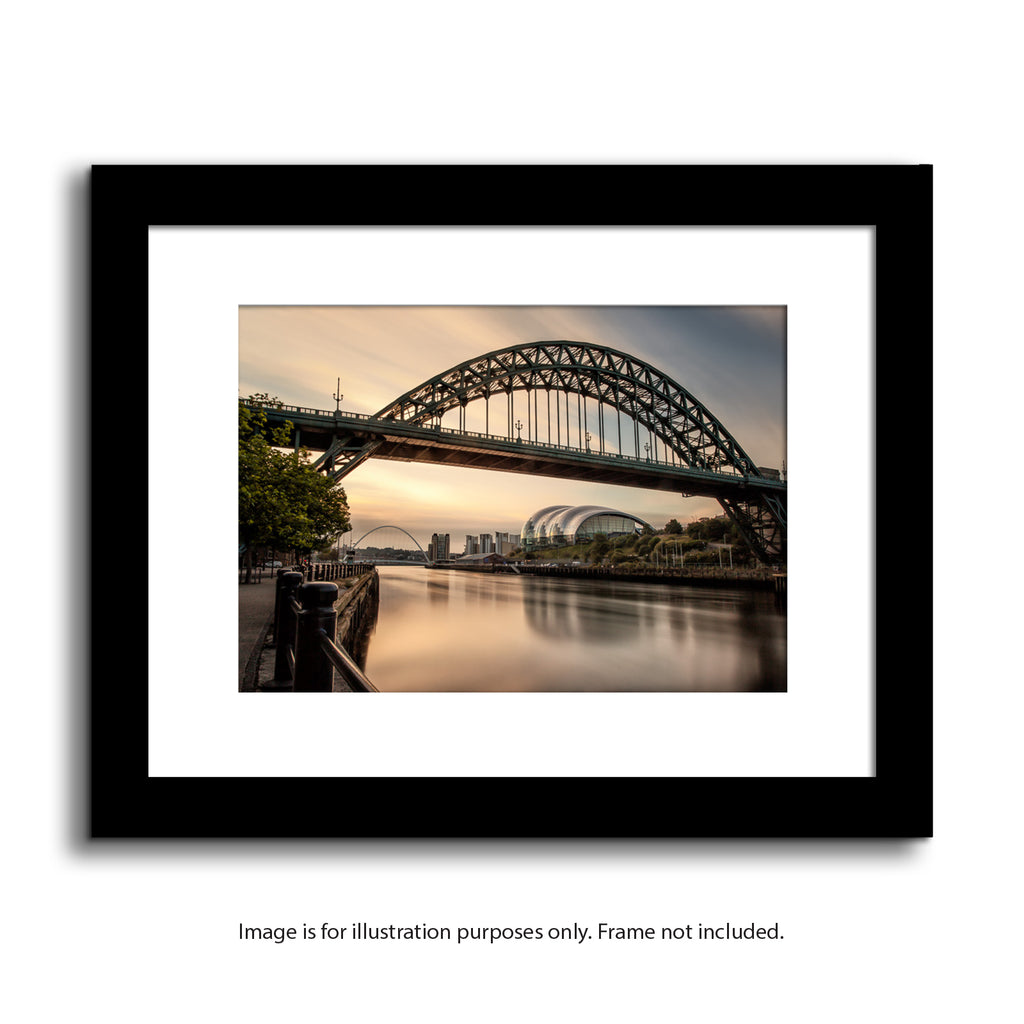 Tyne Bridge, Newcastle quayside at Dawn. High quality mounted print of the river tyne