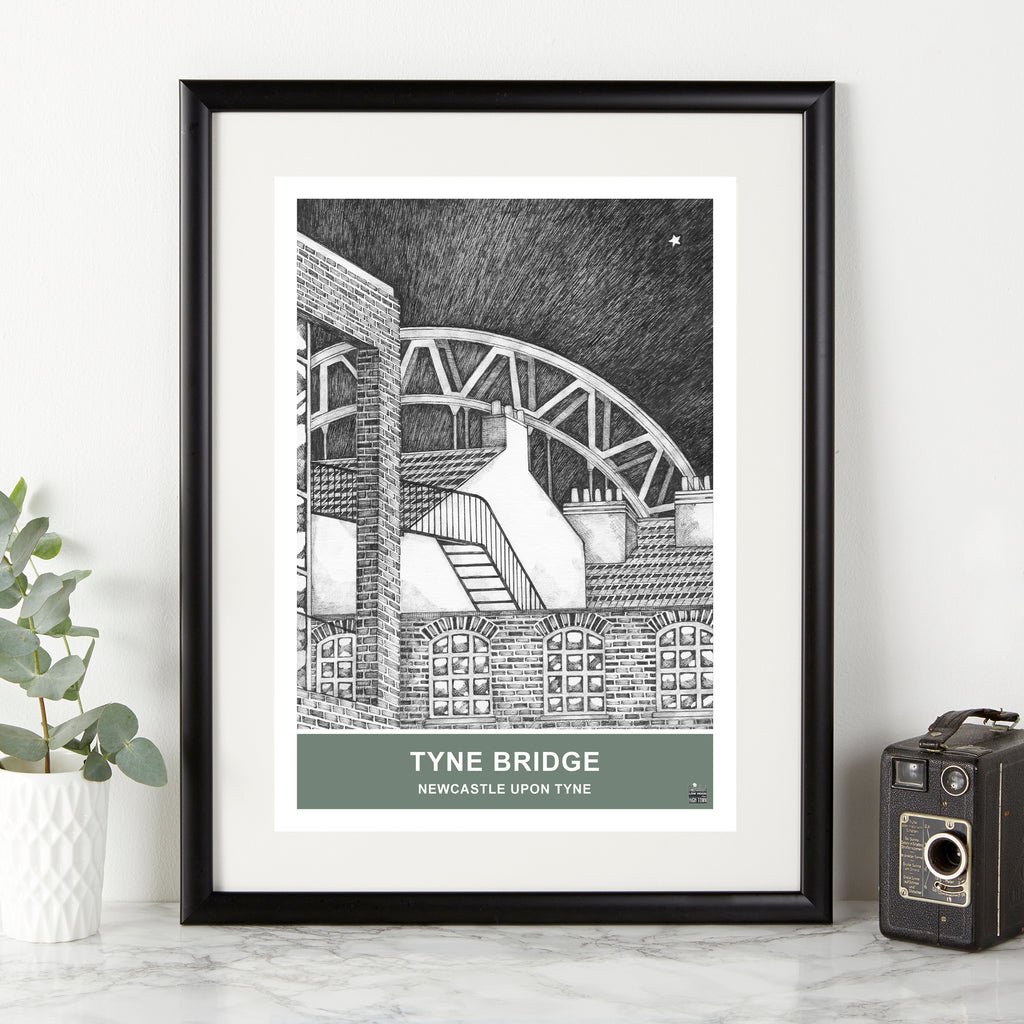 tyne bridge black and white illustration by ben holland. Geordie gifts northeast landmarks framed artwork prints