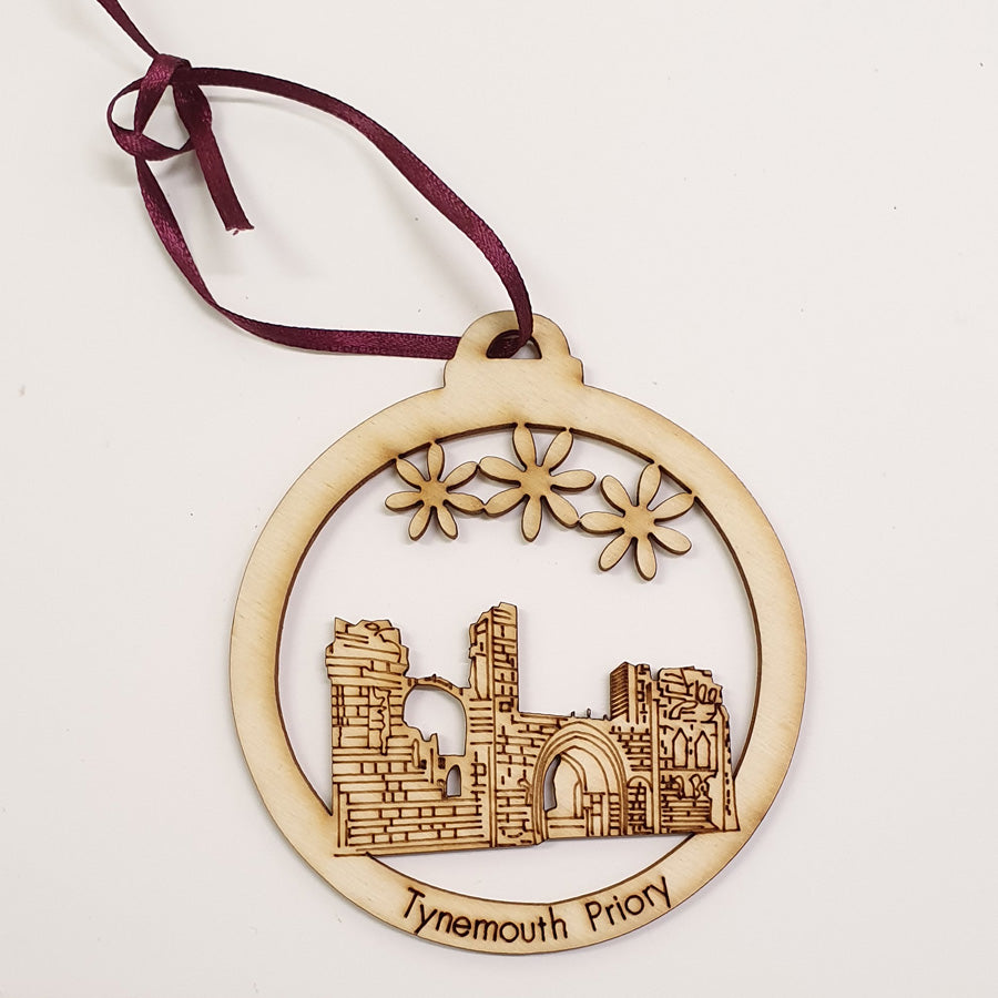 tynemouth priory geordie christmas tree wooden decoration bauble made by geordie gifts