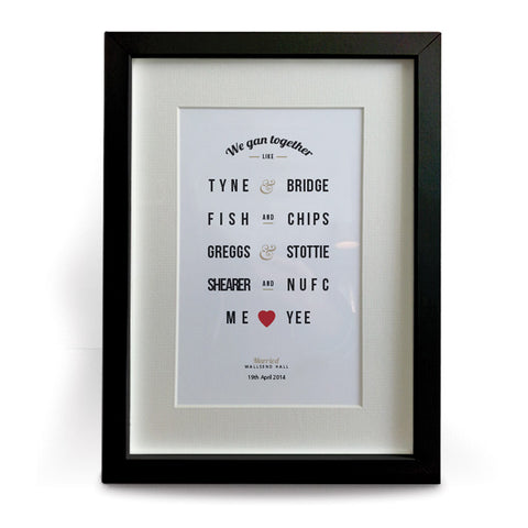personalised geordie gifts framed print. Newcastle wedding gifts unique