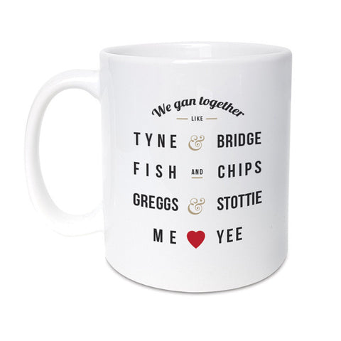 we gan together like funny geordie gifts mug. Tyne and bridge, greggs and stottie