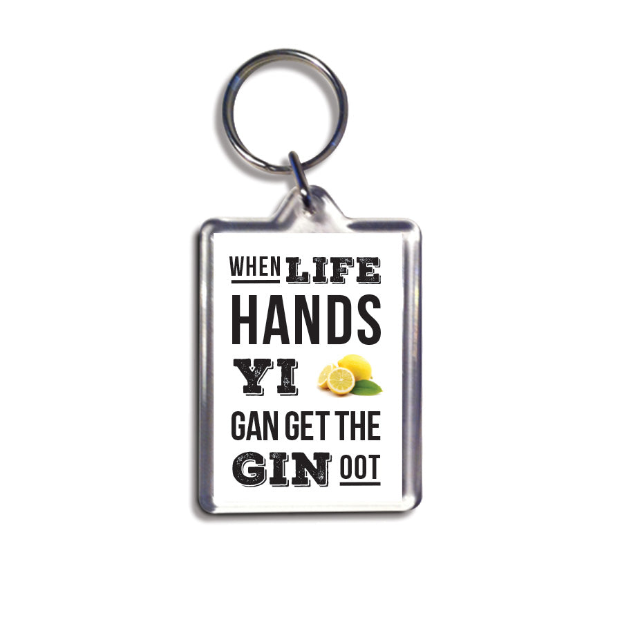 when life hands yi lemons gan get the gin oot geordie gifts small newcastle present keyring