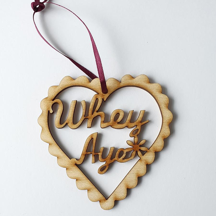 whey aye geordie phrase funny newcastle christmas tree decoration bauble
