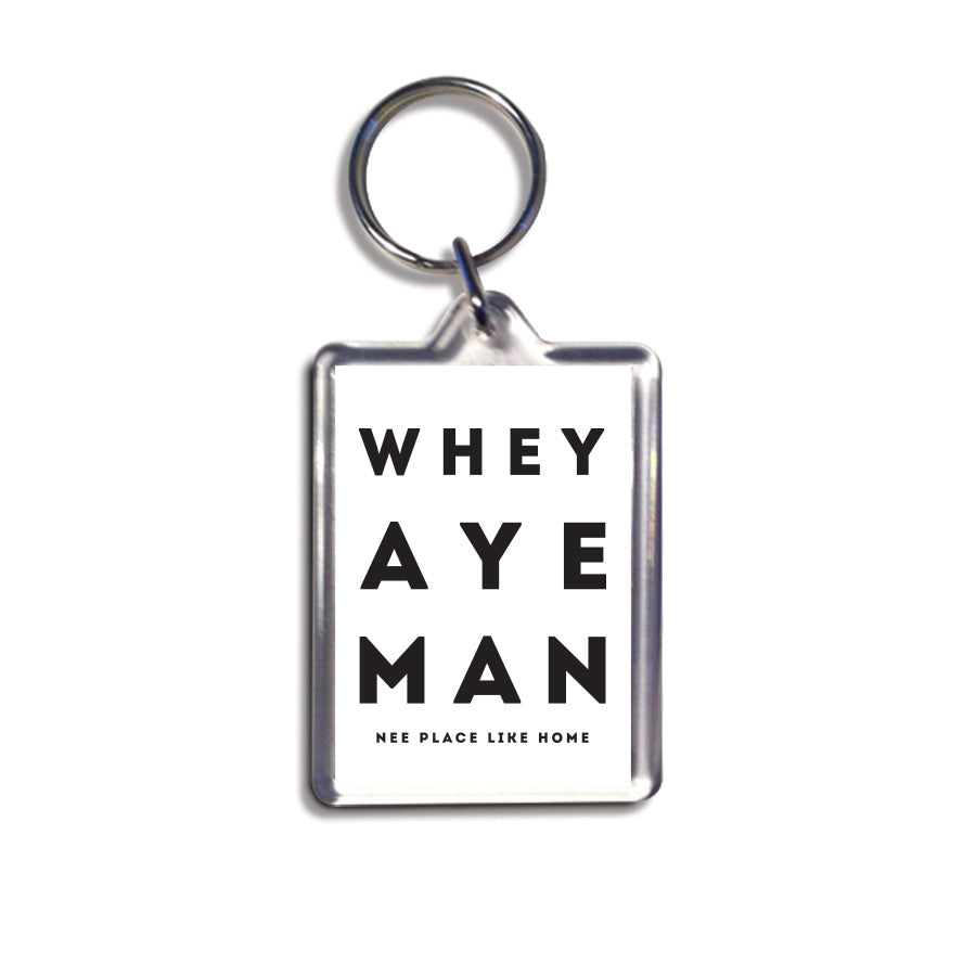 whey aye man white geordie keyring newcastle souvenirs