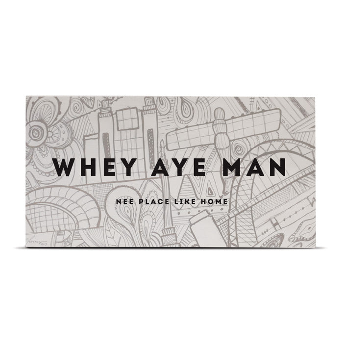 whey aye man nee place like home newcastle landmarks abstract wood plaque