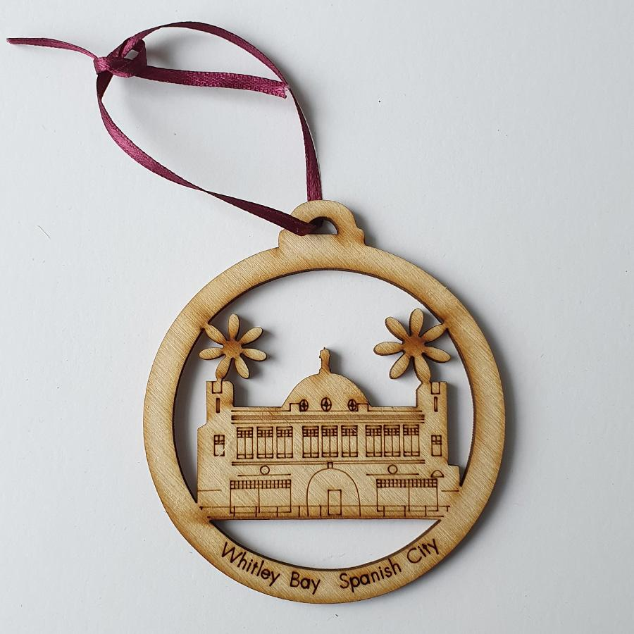 Spanish city whitley bay newcastle upon tyne geordie christmas tree decoration baubles