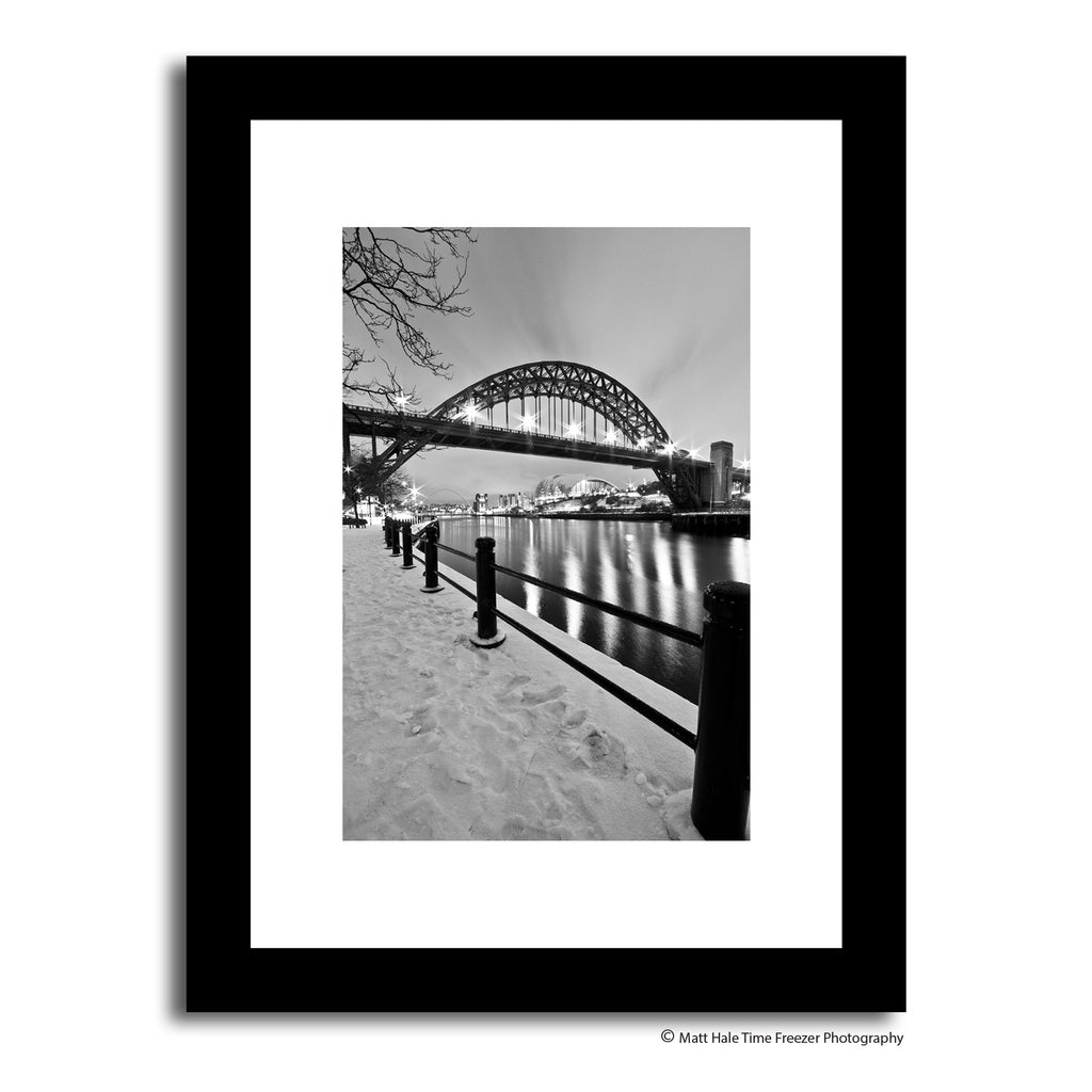 newcastle quayside in the snow at winter. Black and white tyne bridge framed print photography