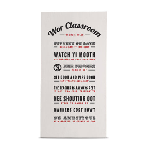 wor classroom geordie teachers rules wooden plaque newcastle northeast gifts