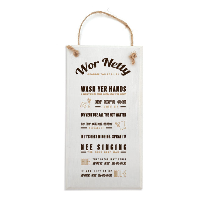 wor netty geordie toilet rules plaque newcastle handmade gifts