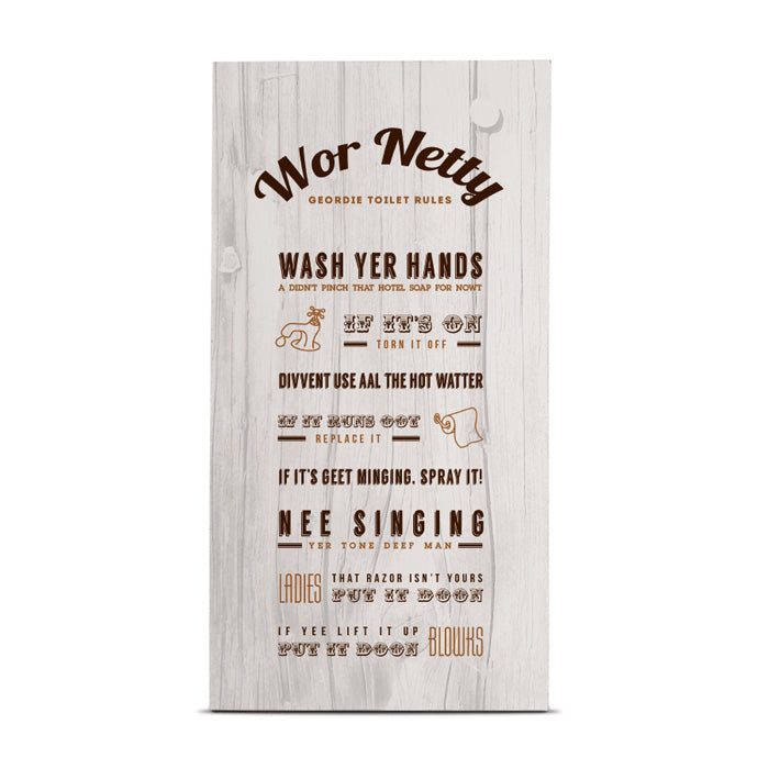 wor netty geordie toilet rules tall wood newcastle handmade gifts