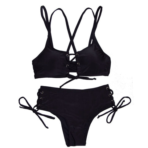 High Waisted Tie Up Bikini Set - Black - 2 Piece Set