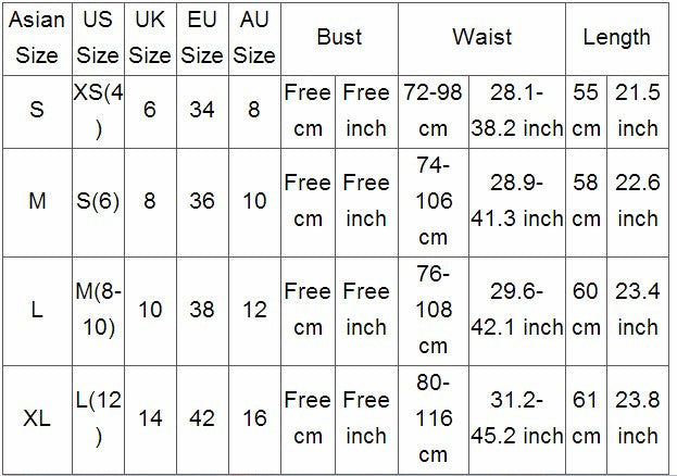 Sizing information for one piece swimsuit