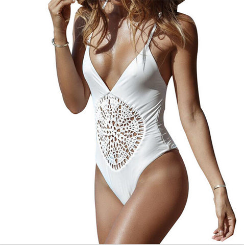 Crochet One Piece Swimsuit - Black or White
