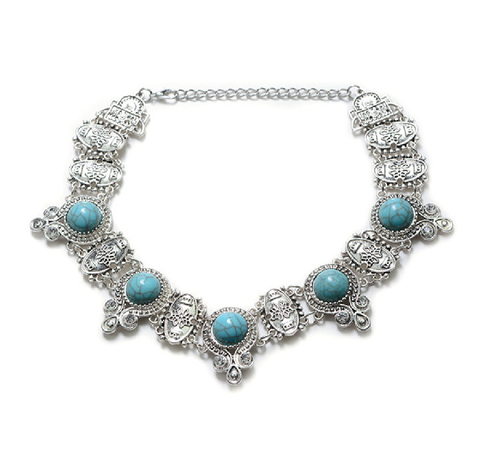 Antique Metal Choker -Turquoise Natural Stones