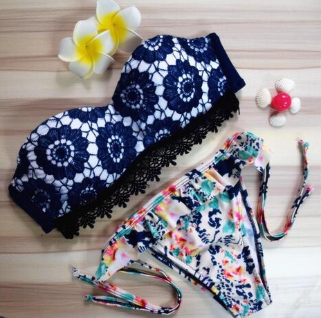 Lace Bikini Set - Navy Blue