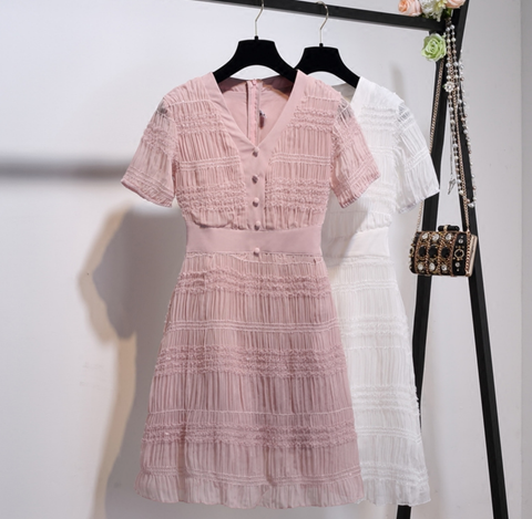 "Chiffon Short Sleeve Day Dress - ""Emily Dress"" - Pink or White Color Options"