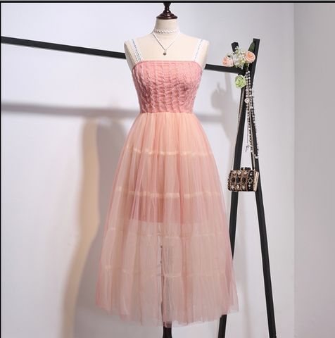Boho Queen Lace Skirt Dress - Pink Color
