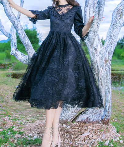 Boho Queen Black Lace Dress