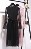 Boho Queen Dress with Lace Fabric - Pink or Black