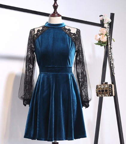 Boho Queen Velvet & Lace Skirt Dress - Blue and Black