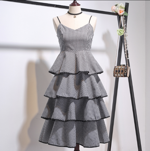 Boho Queen Tier Dress - Black and White Checkered Dress