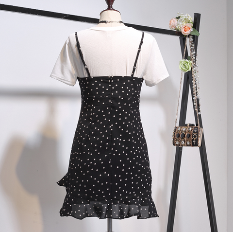 Boho Queen Two-piece Polka Dot and White Shirt Dress - Chiffon