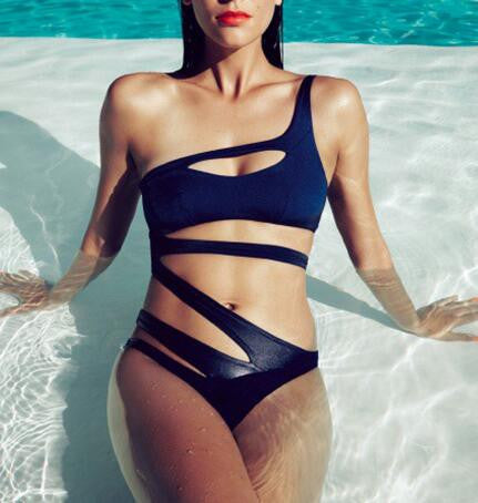 Bandage One Piece Swimsuit - Blue, Black or White