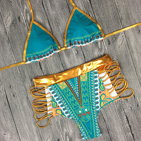 Geometric Print Two-Pieces Bathing Suit - High Waisted