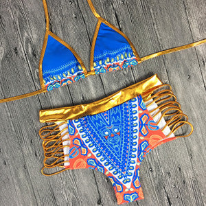e1003ea821b5d Geometric Print Two-Pieces Bathing Suit - High Waisted – Boho Queen ...