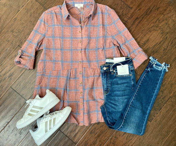 Plaid Flannel Babydoll Top
