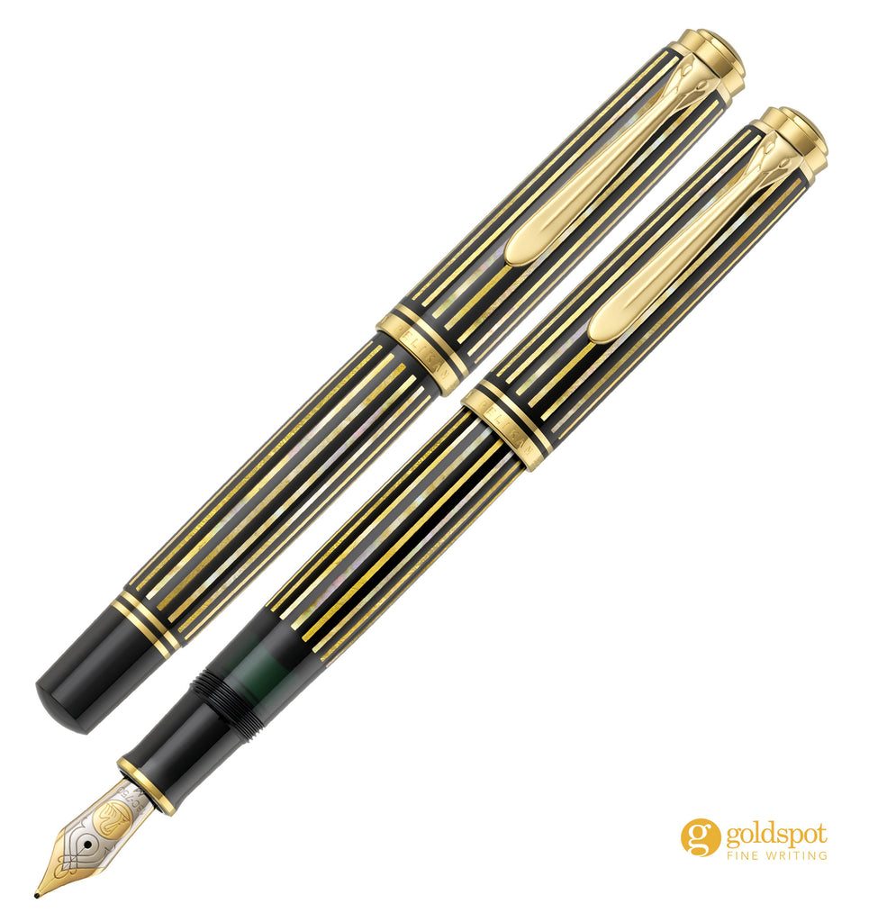 Pelikan M800 Raden Royal Gold Fountain Pen Capped and Cap Posted