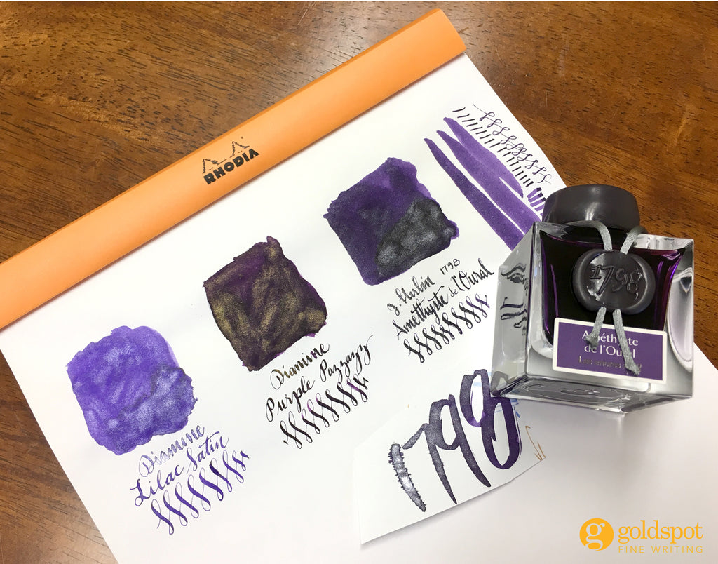 J Herbin and Diamine shimmering purple ink comparison