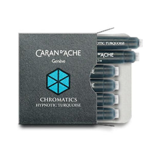 Caran dAche Chromatics Ink Cartridges in Hypnotic Turquoise - Pack of 6 Fountain Pen Cartridges