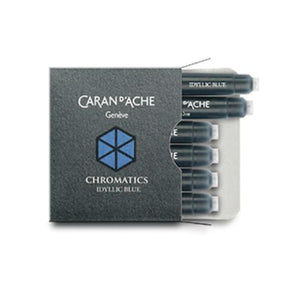 Caran dAche Chromatics Ink Cartridges in Idyllic Blue - Pack of 6 Fountain Pen Cartridges