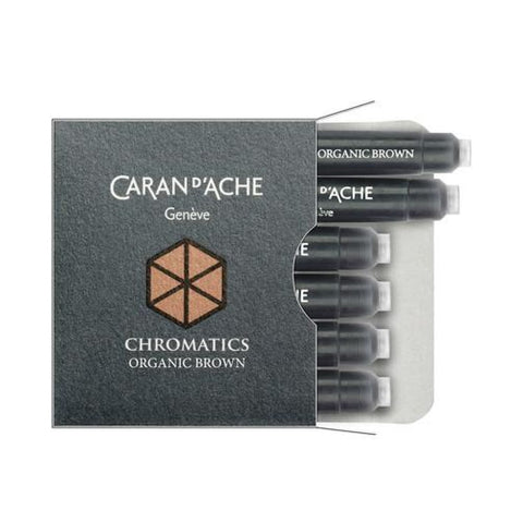 Caran dAche Chromatics Ink Cartridges in Organic Brown - Pack of 6 Fountain Pen Cartridges