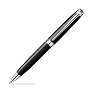 Caran Dache Leman Bi-Function Pen in Ebony Black Silver Plated and Rhodium Coated Pencil