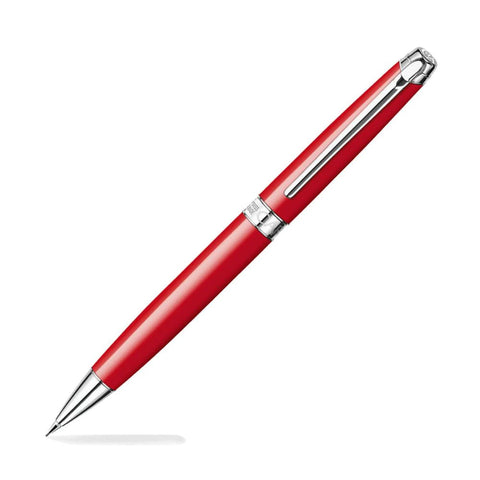 Caran dAche Léman Mechanical Pencil in Scarlet Red Lacquer Silver Plated and Rhodium Coated - 0.7mm Mechanical Pencil