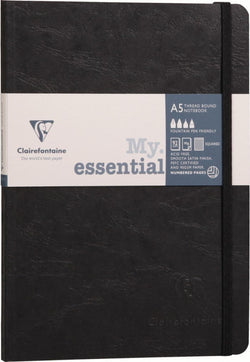Clairefontaine Essential Numbered Ruled Notebook in Black A5 Pen
