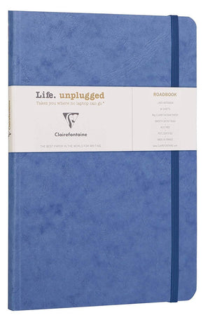 Clairefontaine Roadbook Ruled Notebook with Elastic Closure in Blue - 6 x 8.25 Notebook