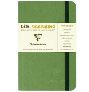 Clairefontaine Roadbook Ruled Notebook with Elastic Closure in Green - 6 x 8.25 Notebook