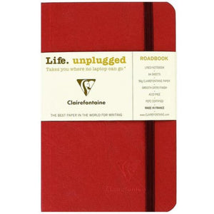 Clairefontaine Roadbook Ruled Notebook with Elastic Closure in Red - 6 x 8.25 Notebook
