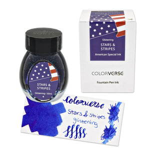 Colorverse Stars and Stripes in Blue with Glistening Shimmer Bottled Ink - 30mL Special Edition Bottled Ink