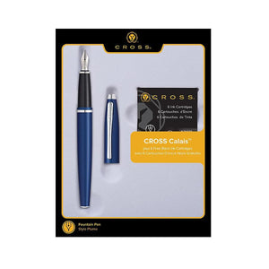 Cross Calais Fountain Pen Gift Set in Blue & Chrome with 6 Free Ink Cartridges - Medium Point Gift Set