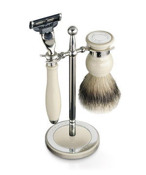 Dalvey Shaving Ivory Gillette® Mach3 Razor Head & Super Badger Brush Set Stand Accessory