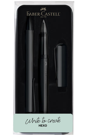 Faber-Castell Hexo Rollerball and Ballpoint Pen in Black - Gift Tin Gift Set