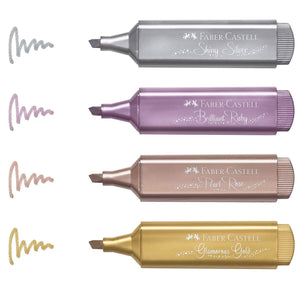 Faber Castell Metallic Textliner Marker Pen in Assorted Colors - Pack of 4 Marker