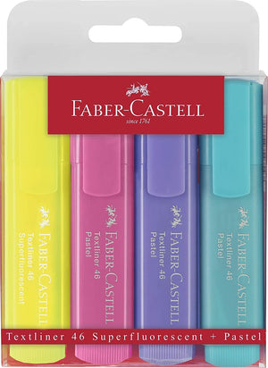 Faber Castell Pastel Textliner Marker Pen in Assorted Colors - Pack of 4 Marker