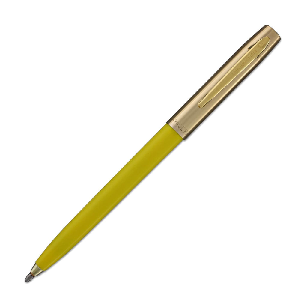 Fisher Space Cap-O-Matic Ballpoint Pen in Yellow with Brass Trim Ballpoint Pen