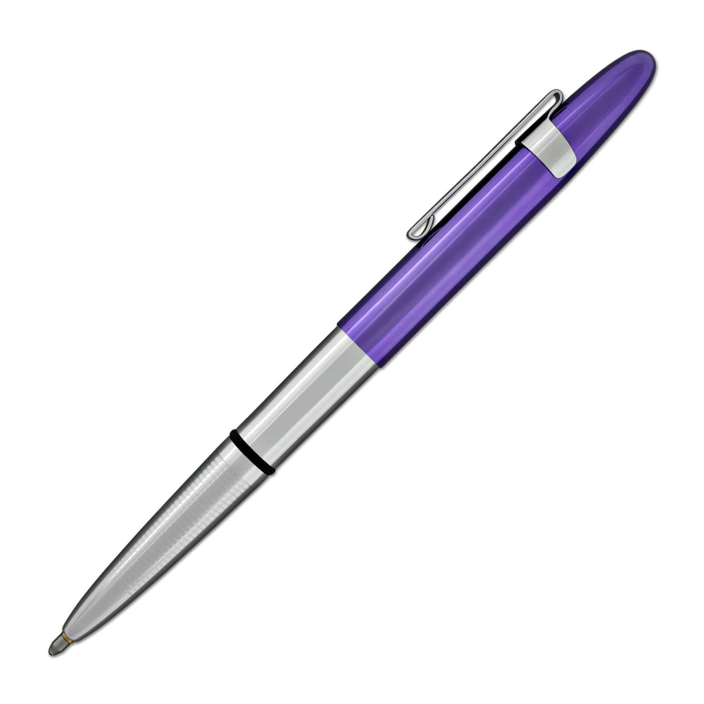 Fisher Space Pen Bullet Ballpoint Pen with Clip in Chrome & Purple Passion Ballpoint Pen