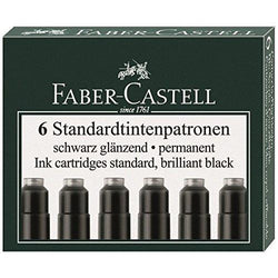 Graf von Faber-Castell Ink Cartridges in Permanent Black - Pack of 6 Fountain Pen Cartridges